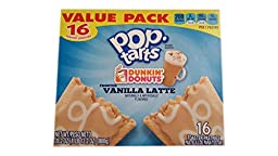 Pop-Tarts Dunkin Donuts Frosted Vanilla Latte Toaster Pastries, 28.2 Ounce