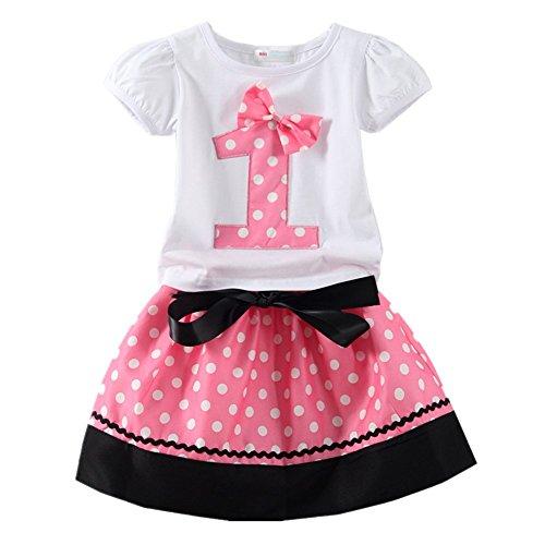 LittleSpring Baby Girls' Clothing Set Shorts Skirt Birthday Size 1T Pink-skirt-1