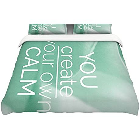 KESS InHouse Tiny September You Create Your Own Calm Pastel White Photography Queen Featherweight Duvet Cover 88 X 88