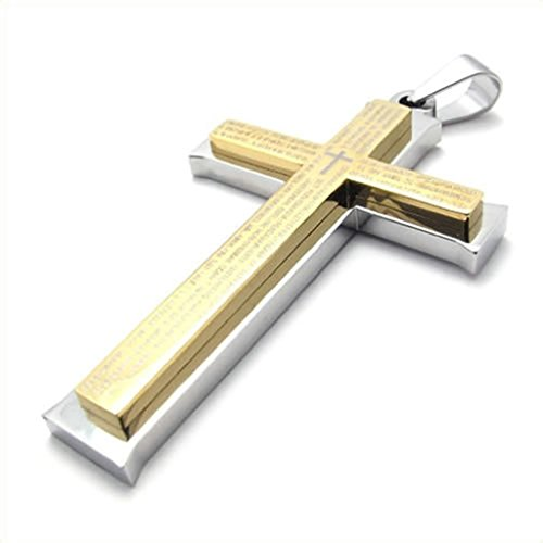 Jigsaw Costume Australia (Bishilin Stainless Steel Gold Silver Pray Cross Unisex's Pendant Necklaces with Chain 20 Inch for Women Men with Free Engraved Service)