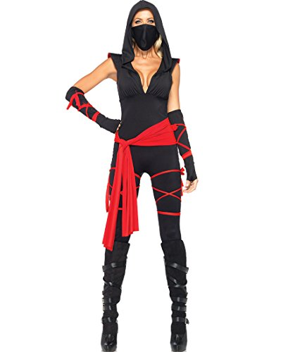 Leg Avenue Deadly Ninja Costume (Leg Avenue 85087 Deadly Ninja Adult Costume - Large - Black/Red)