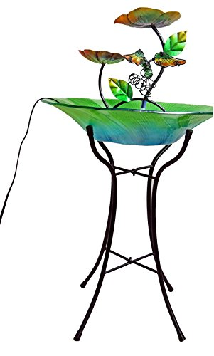 Continental Art Center Hummingbird Fountain Includes 15-Inch Glass Bowl and 18-Inch Metal Base, 15 by 15 by (Art Fountain)