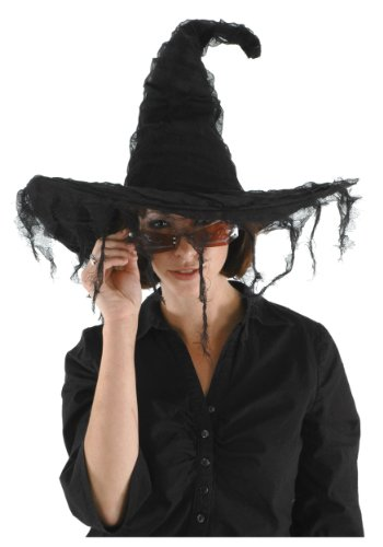 elope Grunge Witch Hat, Black, One (Witches Halloween Hats)