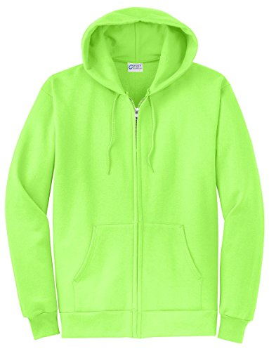 (Port & Company Men's Classic Full Zip Hooded Sweatshirt XL Neon Green)