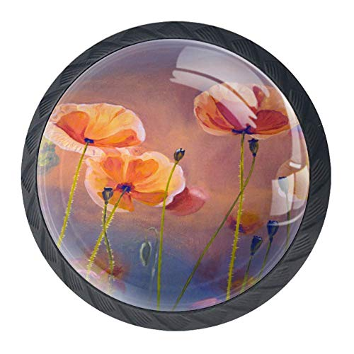 (First Light Morning Poppy Flowers Turkey 4 Pack of Ring Cabinet Drawer Knob 35mm Diameter for Kitchen Cabinet Hardware Home Office Cabinet Cupboard)