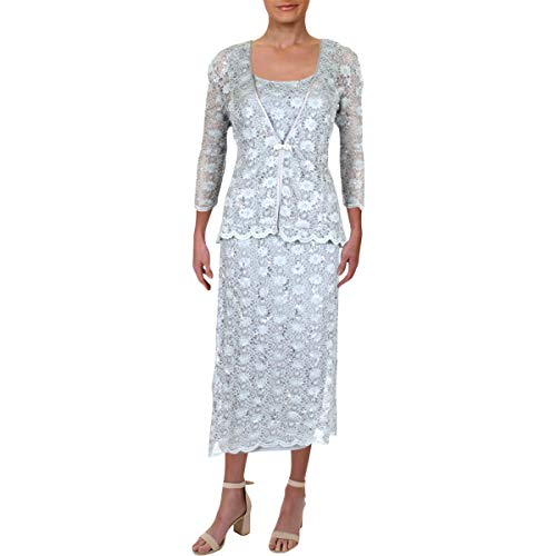 R&M Richards Women's 2 PCE Lace Swing Jacket Dress, Silver, 8