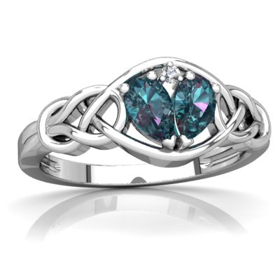 14K White Gold Lab Alexandrite and Diamond Pear Celtic Love Knot Ring - Size 7