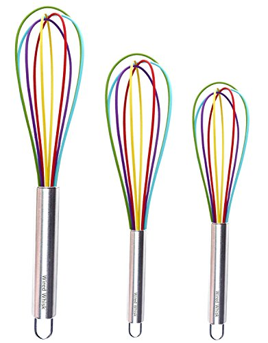 Silicone Whisk Set of 3 - Stainless Steel & Silicone Kitchen Utensils for Blending, Whisking, Beating & Stirring - (Blue: 12-inch, Red: 10-inch & Green: 8.5-inch) (Rainbow)