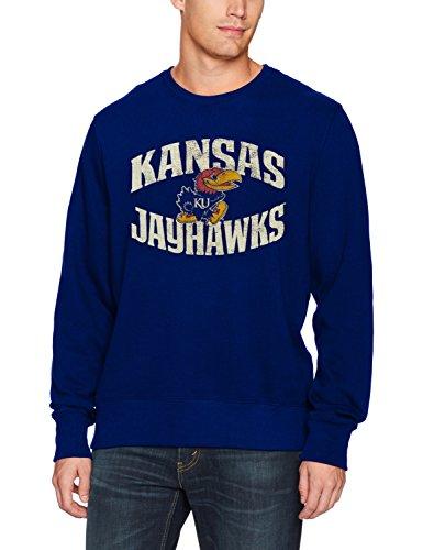 NCAA Kansas Jayhawks Men's OTS Fleece Crew Distressed, X-Large, Royal
