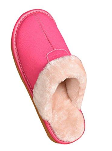 Cattior Donna Foderata In Pelliccia Comode Pantofole Di Pelliccia Pu Pantofole In Pelle Rosa Rossa