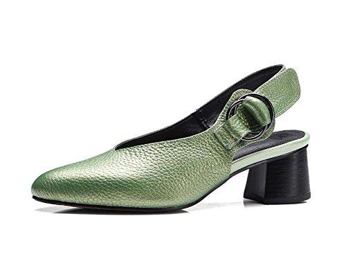 Bomba 4,5cm Tacón grueso piel genuina Slingback Sandalias Zapatos casuales Madre Zapatos Mujer Sencillo Color puro Dedo del pie puntiagudo Correa de tobillo Hebilla del cinturón Zapatos de la Corte Za Green