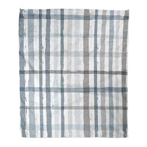 Emvency Flannel Throw Blanket Paint Stripe Plaid Pattern Printing Tartan Graphic Ink Brush Striped Strokes Hipster Paintbrush Line Funky 60x80 Inch Lightweight Cozy Plush Fluffy Warm Fuzzy Soft ()
