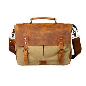 Vintage Style Retro Khaki Leather Canvas Laptop Messenger Bag