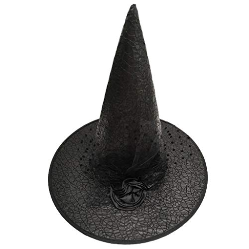 Witch Hat,Crytech Ribbon Rose Tulle Peaked Wicked Wide Brim Cap Halloween Christmas Holiday Dancy Party Masquerade Cosplay Fancy Dress Costumes Accessory and Daily for Women Adult Children (Black)