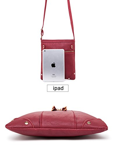 Classic Modern Bag Crossbody for Solid Red Leather Women Fashion PU ilishop XqIwBAW