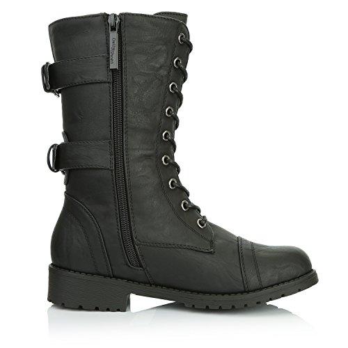 DailyShoes Damen Militär Ankle Lace Up Schnalle Kampfstiefel Mitte Kniehohe Exklusive Kreditkarten-Booties Twlight Schwarz