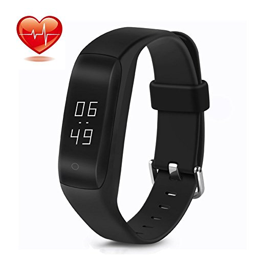 LESHP C5 Heart Rate Monitor, Waterproof Bluetooth 4.2 Smart Fitness Tracker Bracelet Pedometer Watch Activity Sleep Tracker Band for Android and iOS (C5-Black)