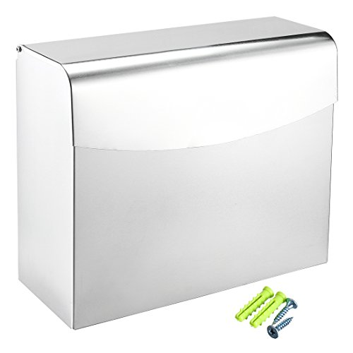 uxcell Bathroom Lavatory Toilet Paper Holder Hand Tissue Box w Cover Space Aluminum Flip-up Silver Tone