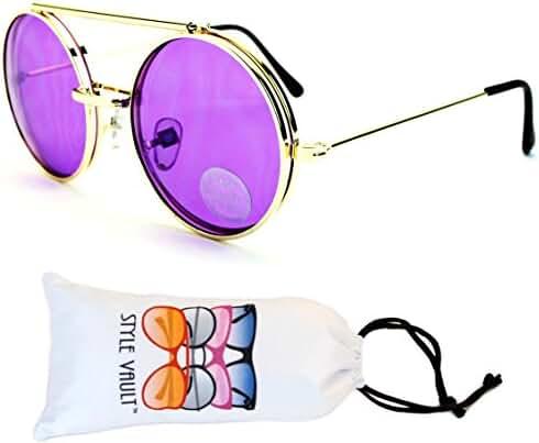 V135-vp Style Vault Round Flip up Django Metal Sunglasses