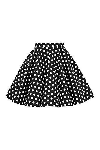 BlackButterfly Kids Vintage 50's Full Circle Girls Swing Skirt (Polka Dot - Black, 5-6 yrs) (Circle Polka Full Dot)