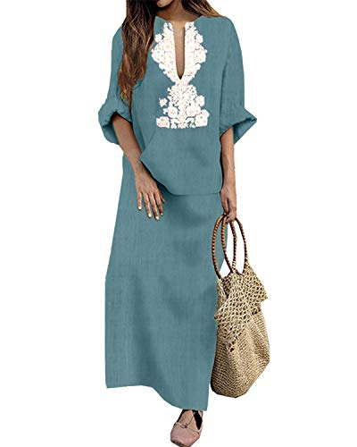 Jacansi Women's Ethnic Printed Long Sleeve V-Neck Cotton Linen Maxi Dress Light Blue #1XL by Jacansi