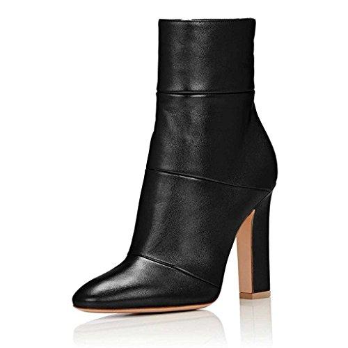 4 Heel Shoes (FSJ Women Retro Chunky High Heel Ankle Boots Pointed Toe Booties With Side Zipper Size 4 Black Matt)