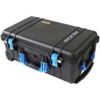 NEW Pelican Colors series - Black Pelican 1510 Case w/ Blue Handles & Latches. No Foam.