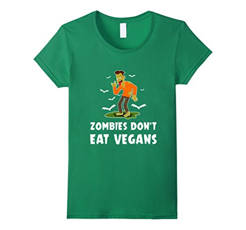 Womens Zombies Don't Eat Vegans T-shirt Vegetarians Costume Small Kelly Green - Vegan Zombie Costume