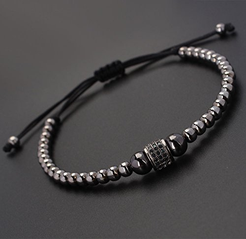 paweena Zenger Fashion Man's Rhodium Plated Diamond Roundel Beaded Macrame Bracelet ()