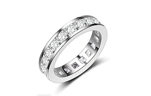 BeFab Full Eternity Wedding Band Emerald Princess Cut CZ Stacking Anniversary Engagement Ring 4MM (Silver, ()