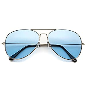 Classic Aviator Style Metal Frame Sunglasses Colored Lens (Silver Frame/ Tinted Blue Lens, 59)