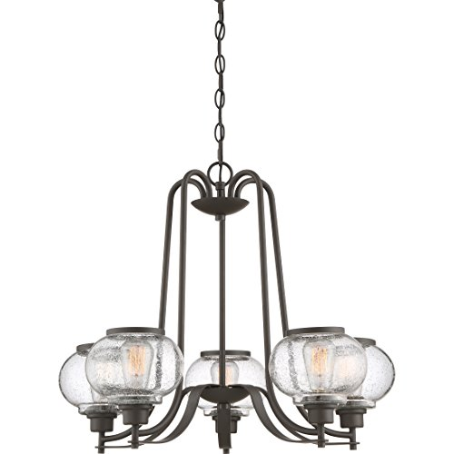 Quoizel TRG3005OZ Trilogy Glass Lantern Chandelier, 5-Light, 300 Watts, Old Bronze (22