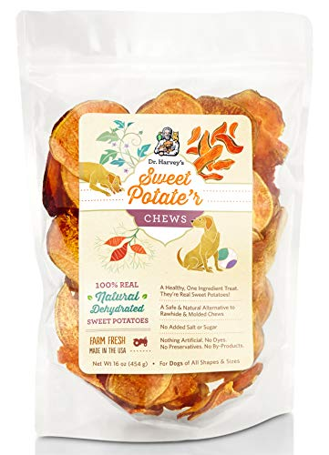 Dehydrated Sweet - Dr. Harvey's Sweet Potate'r Chews - Natural Sweet Potato Treat for Dogs (16 Ounces)