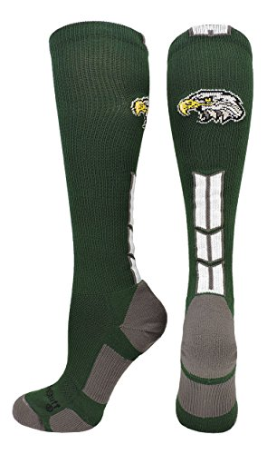 MadSportsStuff Eagles Logo Over the Calf Socks (Dark Green/White, Medium) by MadSportsStuff