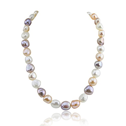 14K Yellow Gold 11.0-13.0mm Extra Luster Multi Color Baroque Freshwater Cultured Pearl necklace 18