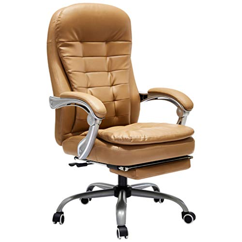Chairs Sofas Home Computer Chair Leather Office Chair Leather Chair Study Room Back seat Reclining Lift Armchair (Color : Brass, Size : - Brass Recliner Reclining