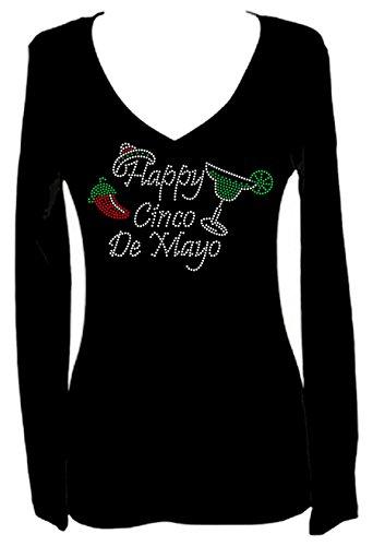 Happy Cinco de Mayo Rhinestone Party V Neck Long Sleeve Tee Shirt (M) Black