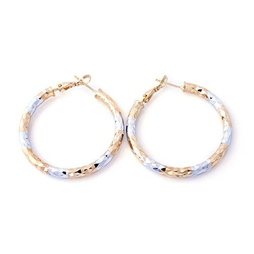 Followmoon 18K Gold Plated Two-Tone Womens Hoop Earrings