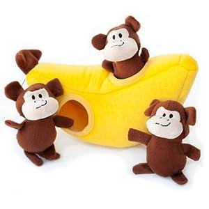 ZippyPaws - Zoo Friends Burrow, Interactive Squeaky Hide and Seek Plush Dog Toy - Monkey 'n Banana