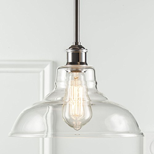 Lucera Stem Mount Factory Pendant Light. Polished Chrome Fixture with 11-inch Clear Glass Shade, Adjustable Hanging Height, Modern Vintage Farmhouse Kitchen Lamp. UL Listed Linea di Liara LL-P431-PC