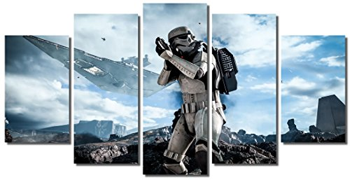 Picture Sensations Framed Canvas Art Print, Star Wars Battlefront Gaming Wall Canvas Art - 60''x32'' by Picture Sensations