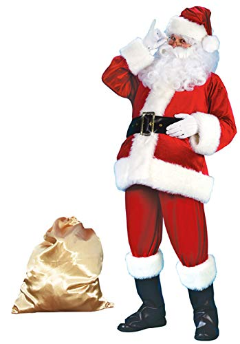 Covelin Men's Plush Santa Suit 10pc. Crimson Christmas Adult Claus Costume XL (Suit Santa Regency)