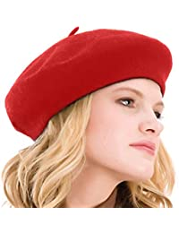 6a3188903aeb1 Womens Beret 100% Wool French Beret Solid Color Beanie Cap Hat