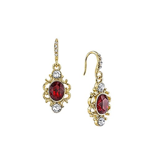1928 Jewelry Downton Abbey Gold-Tone Red Crystal Oval Dro...