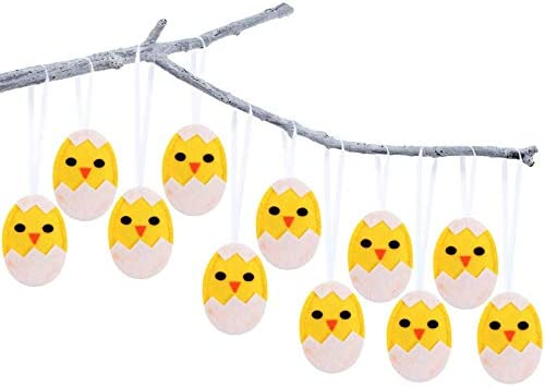 Boao 24 Pieces Easter Ornaments Easter Hatching Chick Ornaments Easter Felt Egg Hanging Ornaments Lovely Easter Felt Ornaments for Holiday Easter Party Favors
