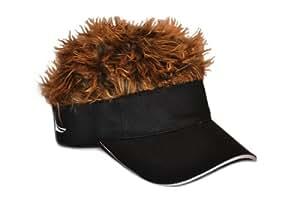 Flair Hair Men's Adjustable Black Visor and Hair, Black/Brown, One Size