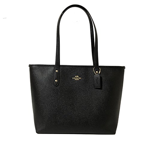 Coach Black Cross-grain Leather City Zip Top Tote