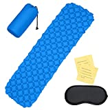 WONYERED Sleeping Pad Lightweight Camping Mattress Inflatable Sleeping Mat Portable Outdoor Hiking Mattress with Eye Mask for Hiking Backpacking Travel