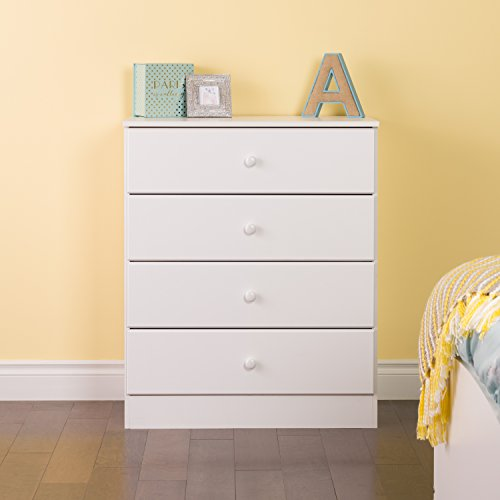 (Prepac Astrid 4 Drawer Dresser, White)