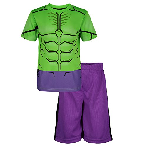 Marvel Avengers Hulk Toddler Boys' Athletic T-Shirt & Mesh Shorts Set, Green/Purple (3T) -